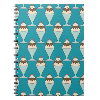 Cherry Top Hot Fudge Sundaes on Aqua Notebook