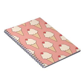 Cherry Top Ice Cream Cones on Pink Notebook