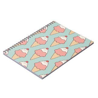 Cherry Top Pink Ice Cream Cones on Aqua Notebook
