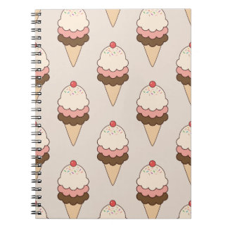 Cherry Top Triple Scoop Ice Cream Cones on Cream Spiral Notebook