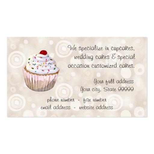 Cherry Topped Cupcakes Business Cards (back side)