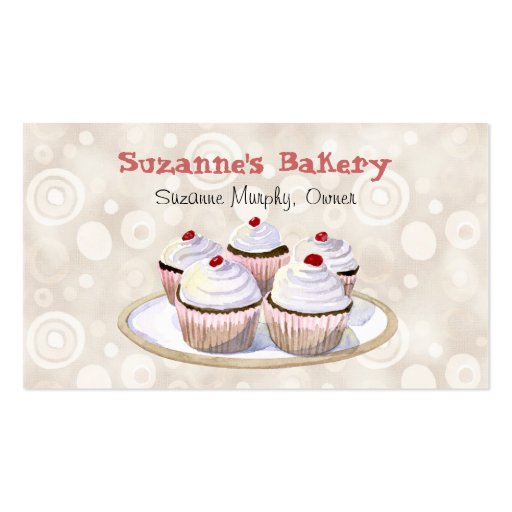 Cherry Topped Cupcakes Business Cards (front side)