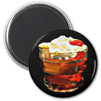Cherry Topped Drink 2 Inch Round Magnet
