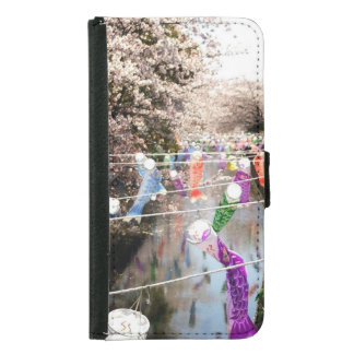 Cherry tree and carp streamer wallet phone case for samsung galaxy s5