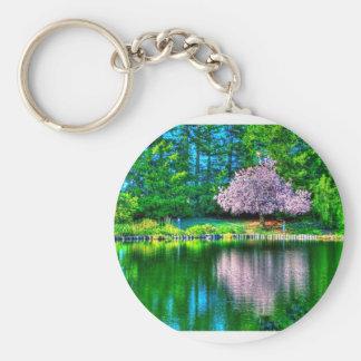 Cherry Tree Basic Round Button Keychain