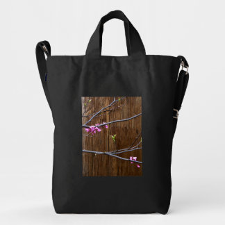 Cherry Tree Blossoms and Wood Pole Bag Black
