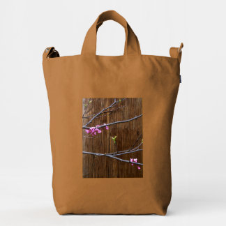 Cherry Tree Blossoms and Wood Pole Bossu Bag Brown