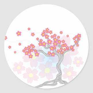 Cherry Tree Blossoms Classic Round Sticker