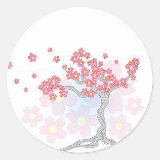 Cherry Tree Blossoms Round Sticker