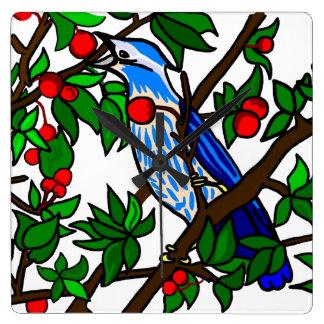 Cherry Tree Blue Bird Square Wall Clock