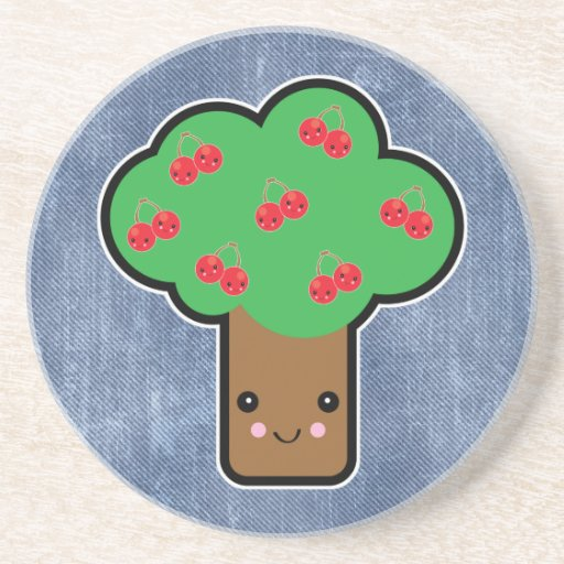 cherry tree kawaii drink coasters