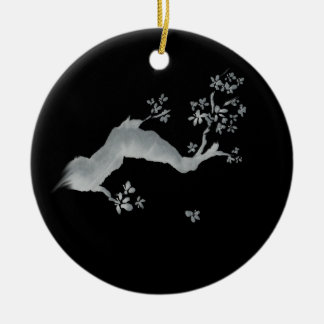 Cherry tree negative ceramic ornament