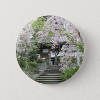 Cherry tree of slightly cloudy pinback button