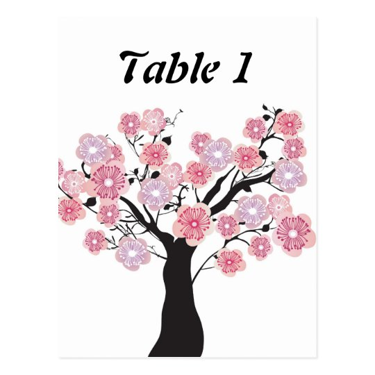 Cherry tree table number card