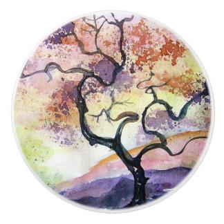 Cherry Tree Water Color Ceramic Knob