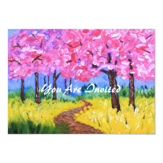Cherry Trees Field Mustard After the Rain Painting Card