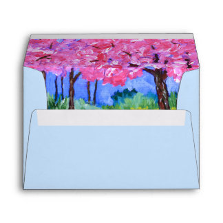 Cherry Trees Field Mustard After the Rain Painting Envelope
