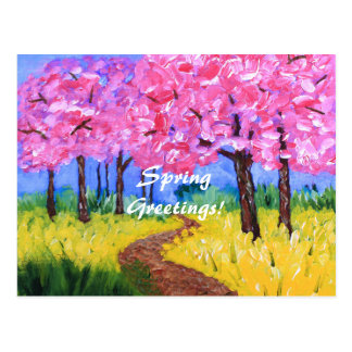 Cherry Trees Field Mustard After the Rain Painting Post Cards