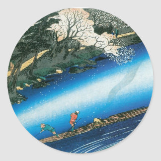 Cherry Trees over the River, Arashiyama, Japan. Classic Round Sticker
