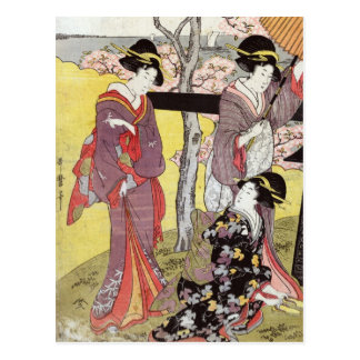 Cherry Viewing at Gotenyama by Kitagawa Utamaro Post Card
