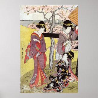 Cherry Viewing at Gotenyama by Kitagawa Utamaro Poster