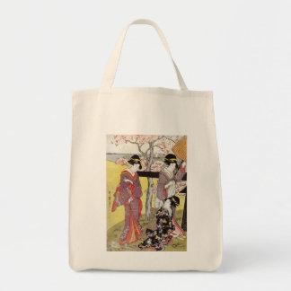 Cherry Viewing at Gotenyama by Kitagawa Utamaro Tote Bag