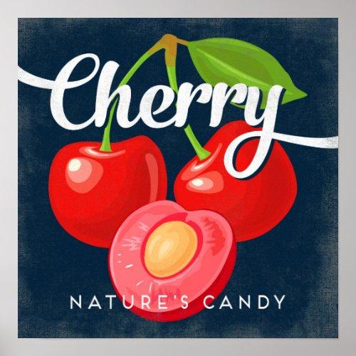 Cherry Vintage Fruit Label Poster