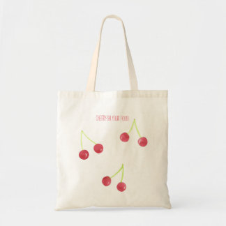 Cherry watercolor tote bag grocery