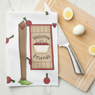 Cherry Welcome Friends Kitchen Towel