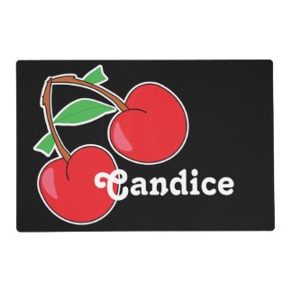 Cherry with Name on Black Placemat