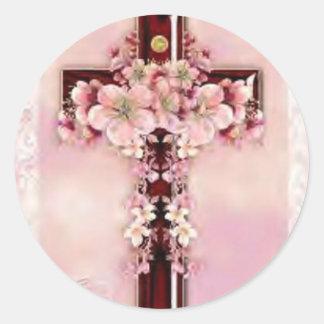 Cherry wood cross classic round sticker