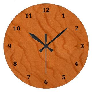 Cherry Wood Look Fine Grain Large Clock