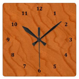 Cherry Wood Look Fine Grain Square Wall Clock
