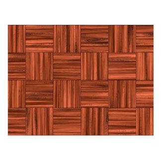 Cherry Wood Parquet Floor Pattern Postcard
