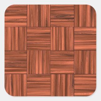 Cherry Wood Parquet Floor Pattern Square Sticker
