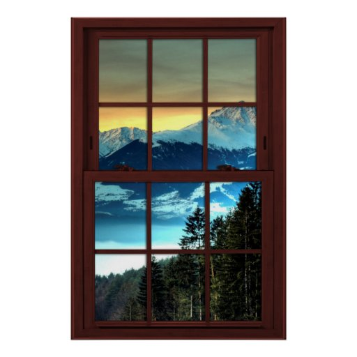 Cherry Wood Picture Window Mountain View 3 of 3 Poster