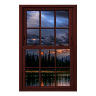 Cherry Wood Picture Window Scenery View 1 of 3 Poster