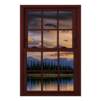 Cherry Wood Picture Window Scenery View 2 of 3 Poster