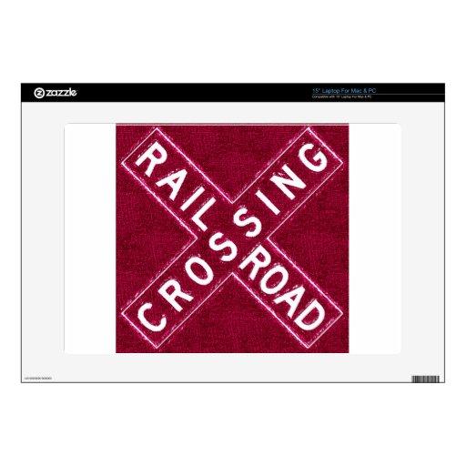 Cherry Wood Railroad Crossbuck Laptop Decals