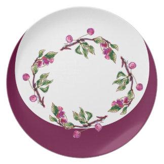Cherry Wreath by Alexandra Cook aka Linandara Melamine Plate