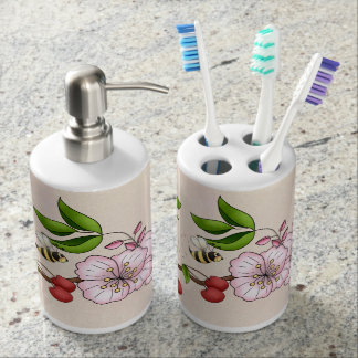 Cherryblossoms and Bees Bath Set