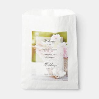 Cherryblossoms pink flowers editable wedding favor bag