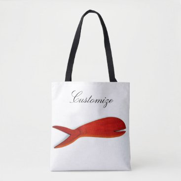 Beach Themed cherrywood fish design white tote bag