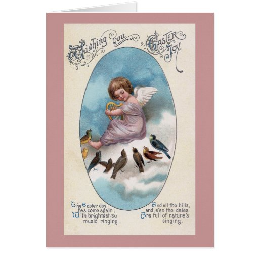 Cherub and Birds on Cloud Vintage Easter Card