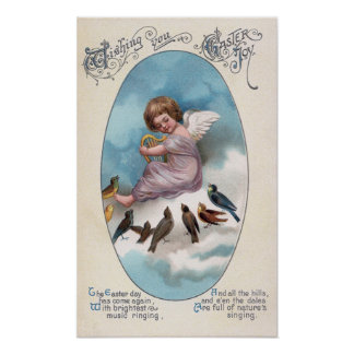 Cherub and Birds on Cloud Vintage Easter Print