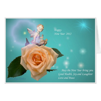 Cherub and Peach Rose with Stars - Happy New Year Card