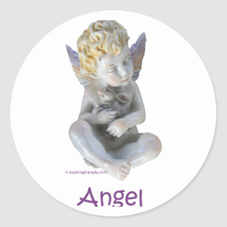 Cherub Angel and Bunny Classic Round Sticker