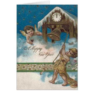 Cherub Angel Clock Midnight Daisy Stars Card