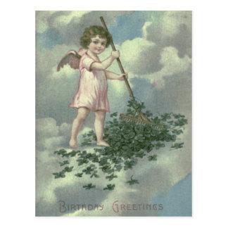 Cherub Angel Four Leaf Clover Rake Postcard