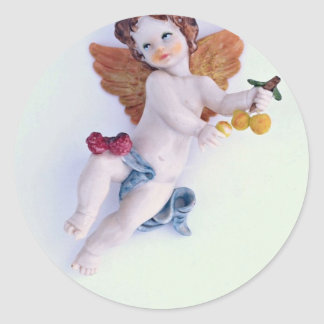 Cherub angel holding peaches sticker